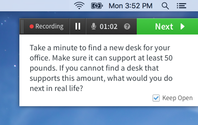 The new recording widget with a task displayed