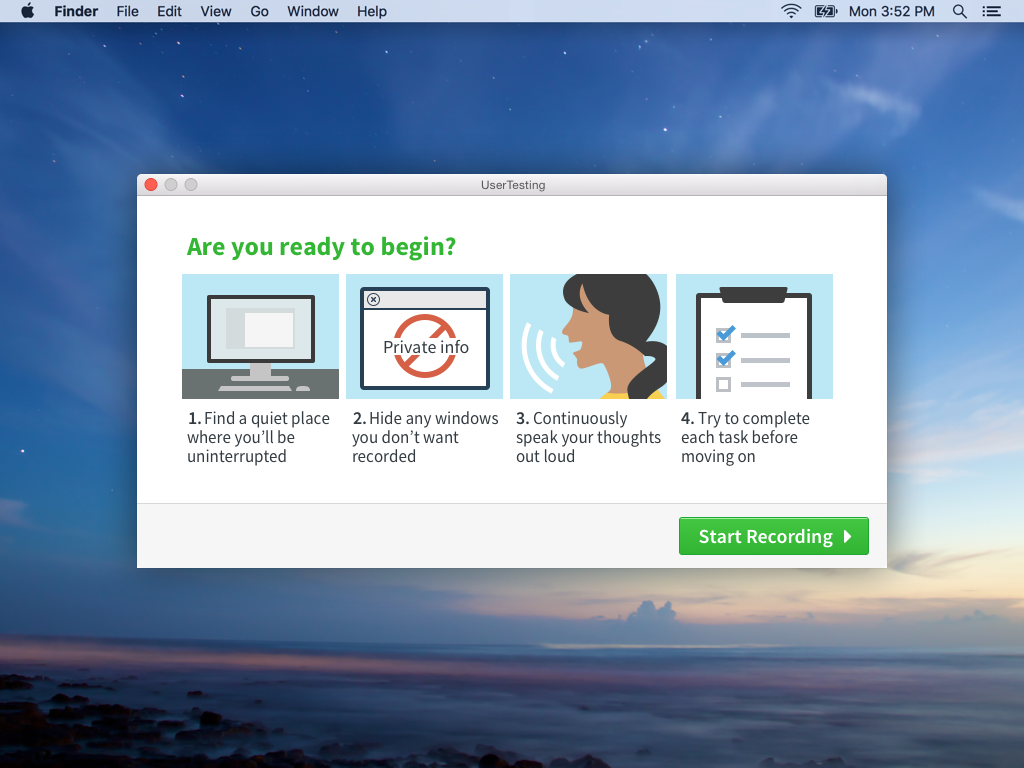 A screenshot of the ready to begin screen